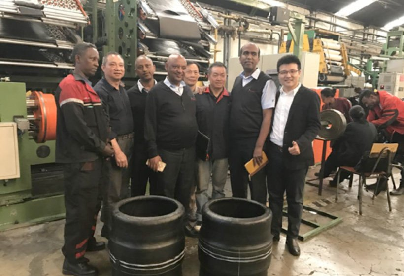 Wet inspection of tire building machine in Africa