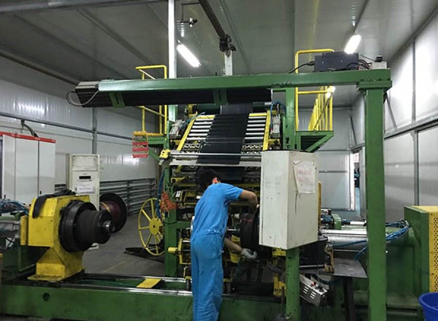 Two stages of LTR tire building machine